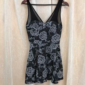 Black rose retro vintage 90s skater dress M